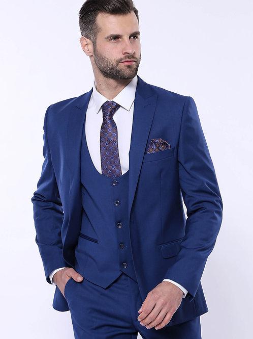 Plain Navy Vested Suit