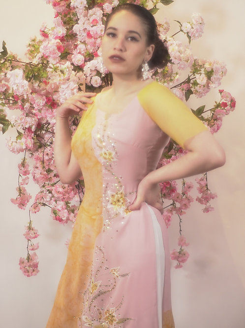 Yellow and White Ao Dai with White and Gold Applique