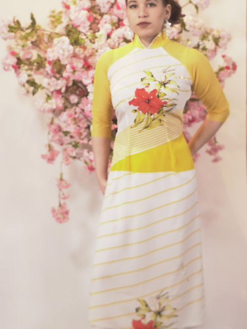 Yellow Striped Ao Dai with Floral Print