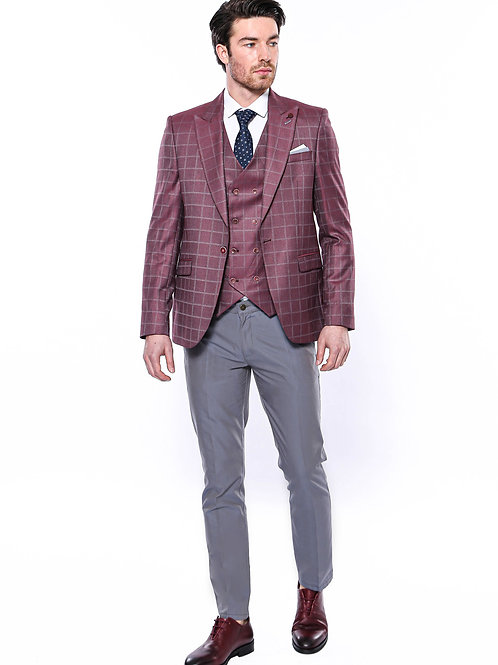 Combined Vested Burgundy Plaid Men's Suit