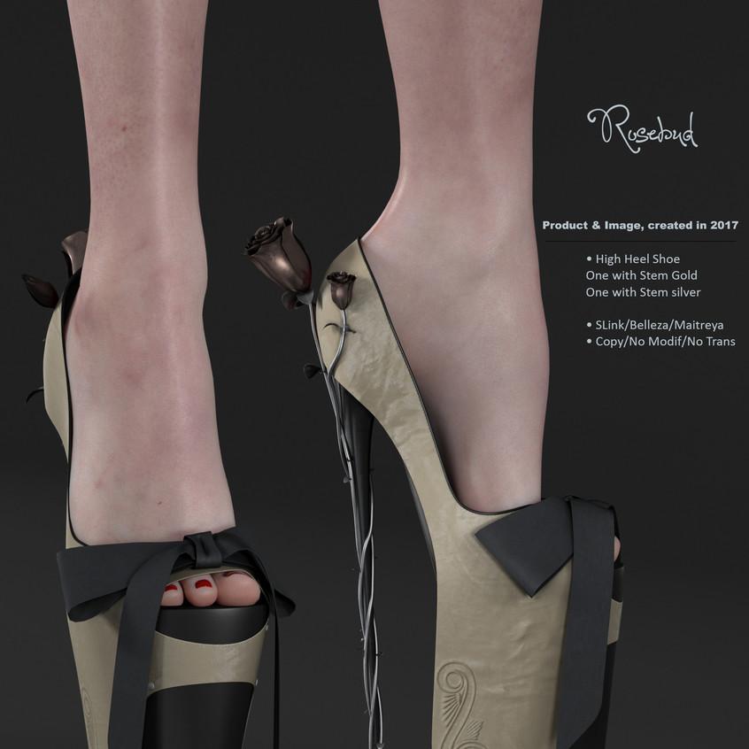 AZOURY - Rosebud High Heel Shoe [Beige]