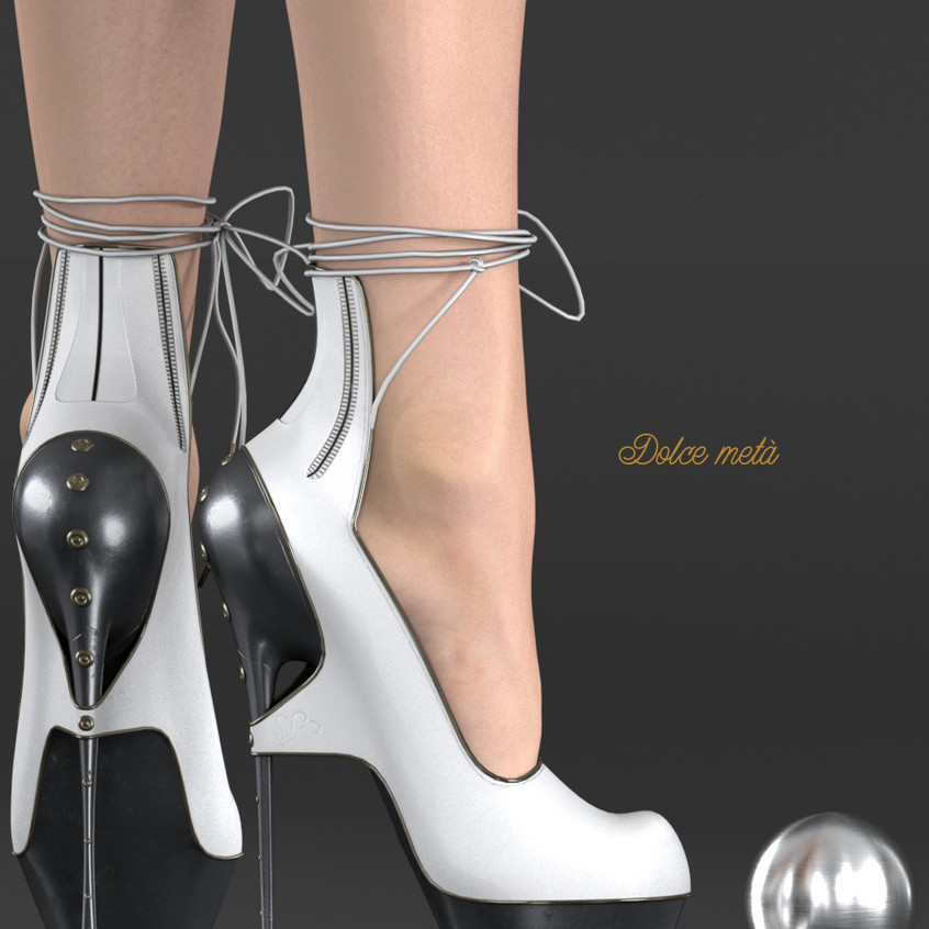 AZOURY - Dolce meta High Heel Shoe [White]
