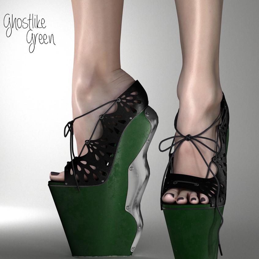 AZOURY Ghostlike High Heel Shoes [Green]