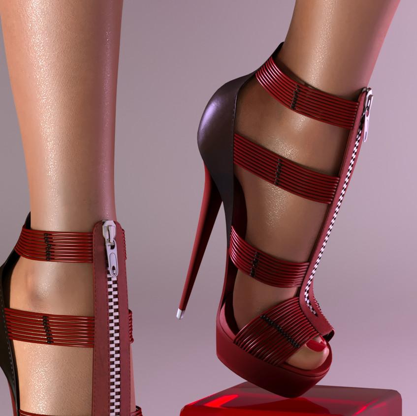 AZOURY - Ezekiel High Heel Shoe [Red]