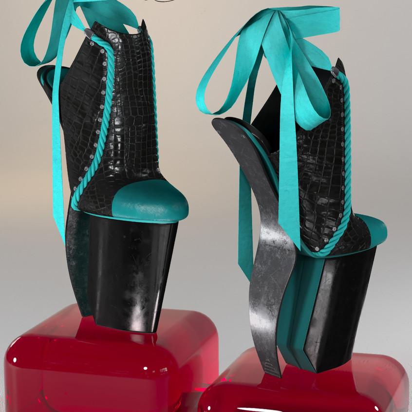 AZOURY - Keziah High Heel Shoe [Turquoise]