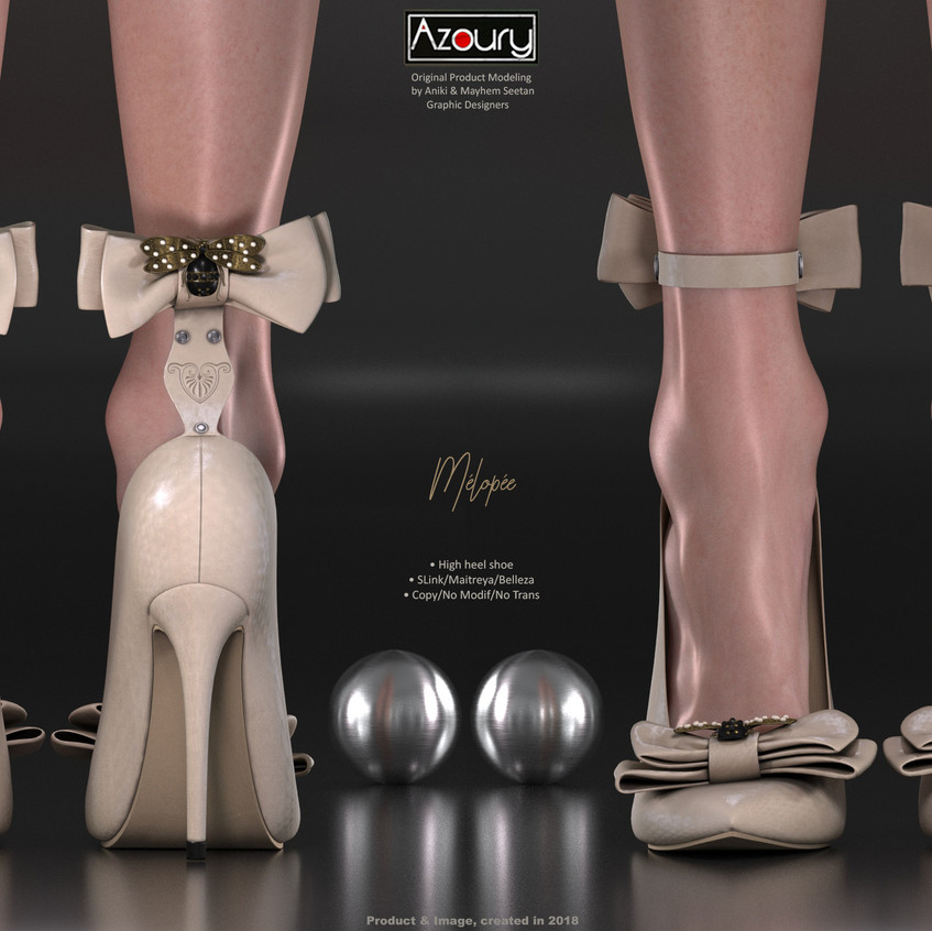 AZOURY - Melopee High Heel Shoe [Cream]