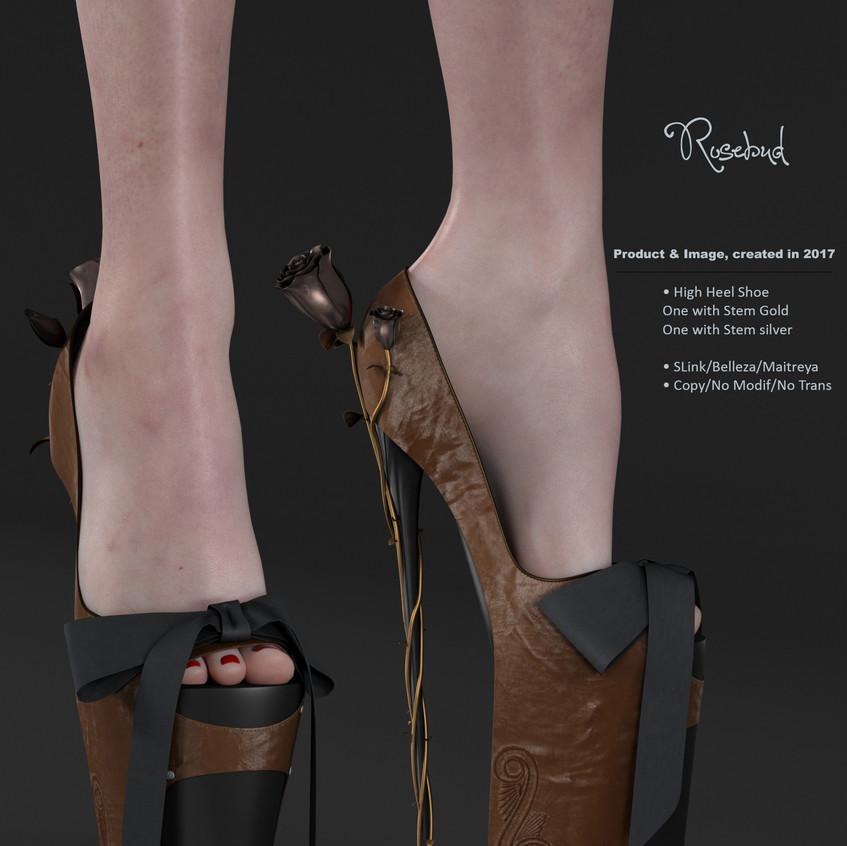 AZOURY - Rosebud High Heel Shoe [Caramel]