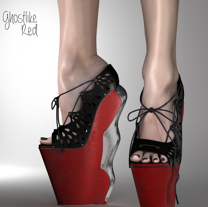 AZOURY Ghostlike High Heel Shoes [Red]