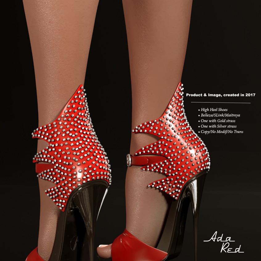 AZOURY - Ada High Heel Shoe [Red]
