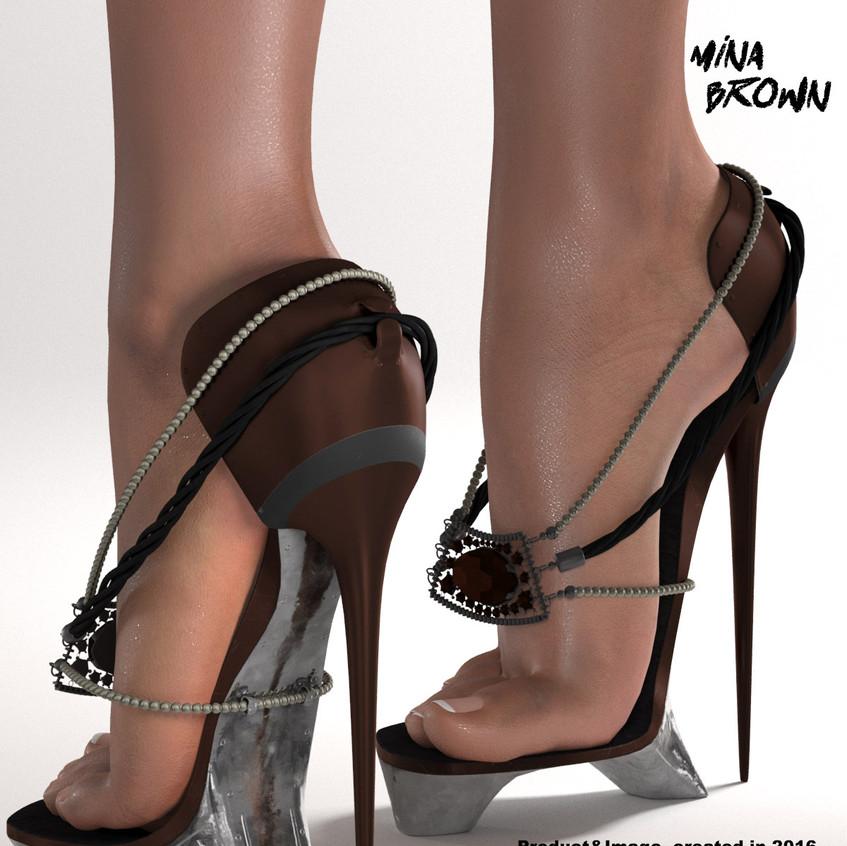 AZOURY - Mina High Heels Shoes [Brown]