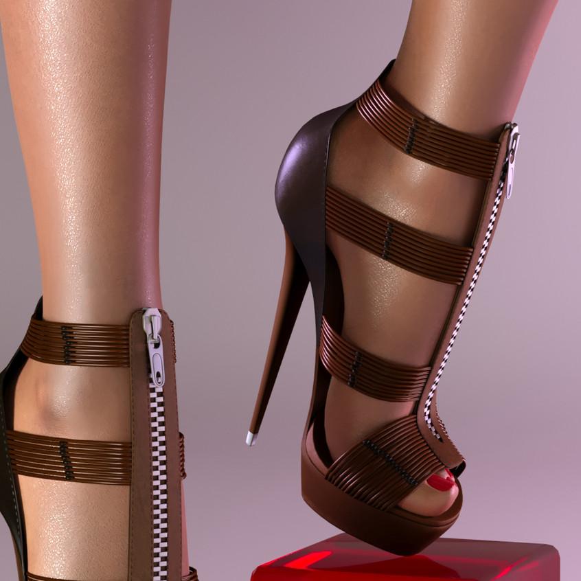 AZOURY - Ezekiel High Heel Shoe [Chocolate]