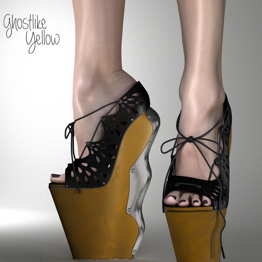 AZOURY Ghostlike High Heel Shoes [Yellow]