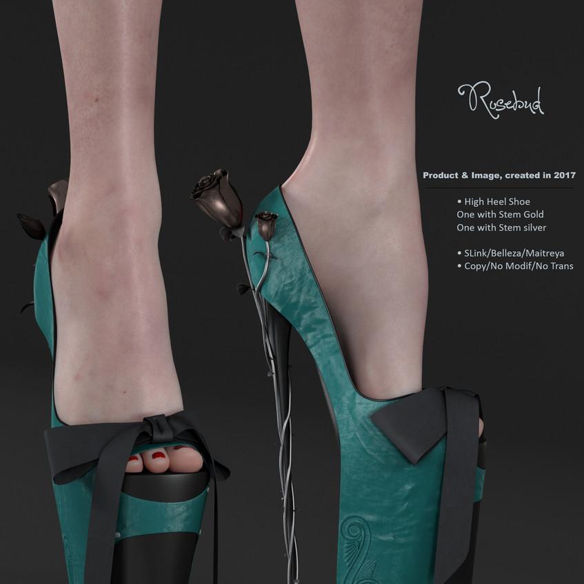 AZOURY - Rosebud High Heel Shoe [Turquoise]