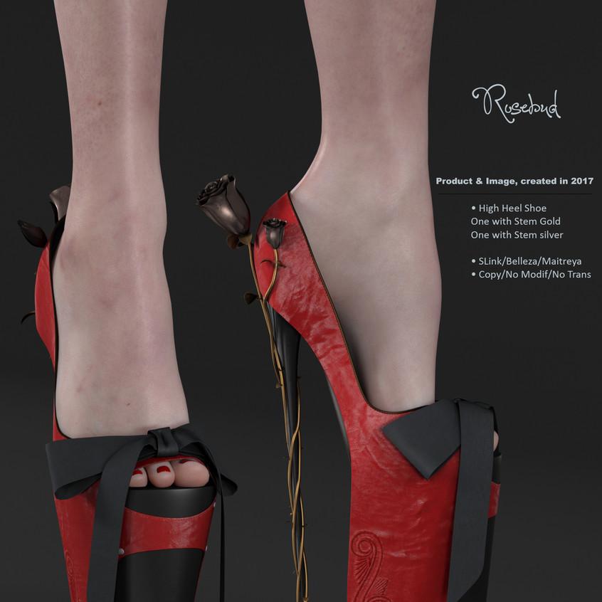 AZOURY - Rosebud High Heel Shoe [Red]
