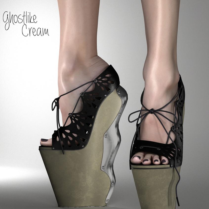 AZOURY Ghostlike High Heel Shoes [Cream]