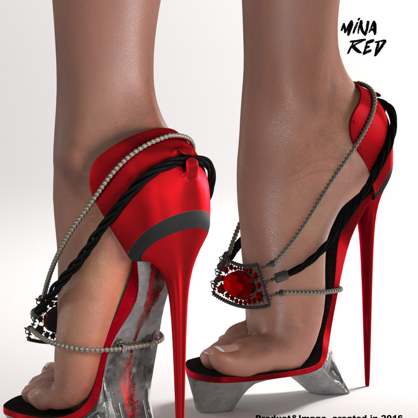 AZOURY - Mina High Heels Shoes [Red]