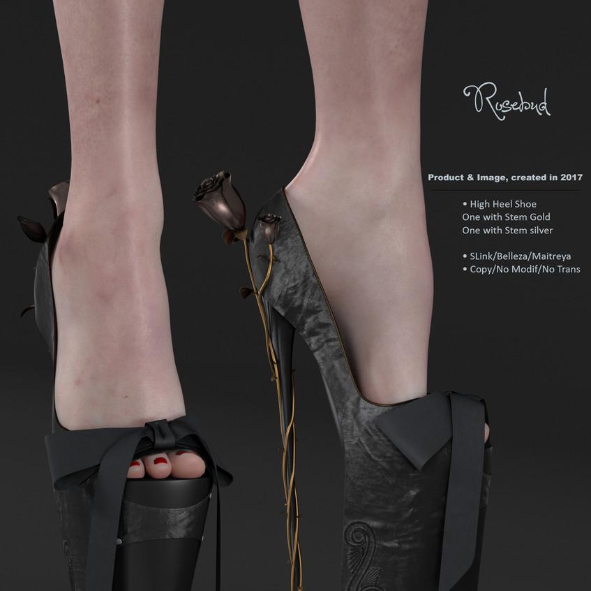 AZOURY - Rosebud High Heel Shoe [Black]