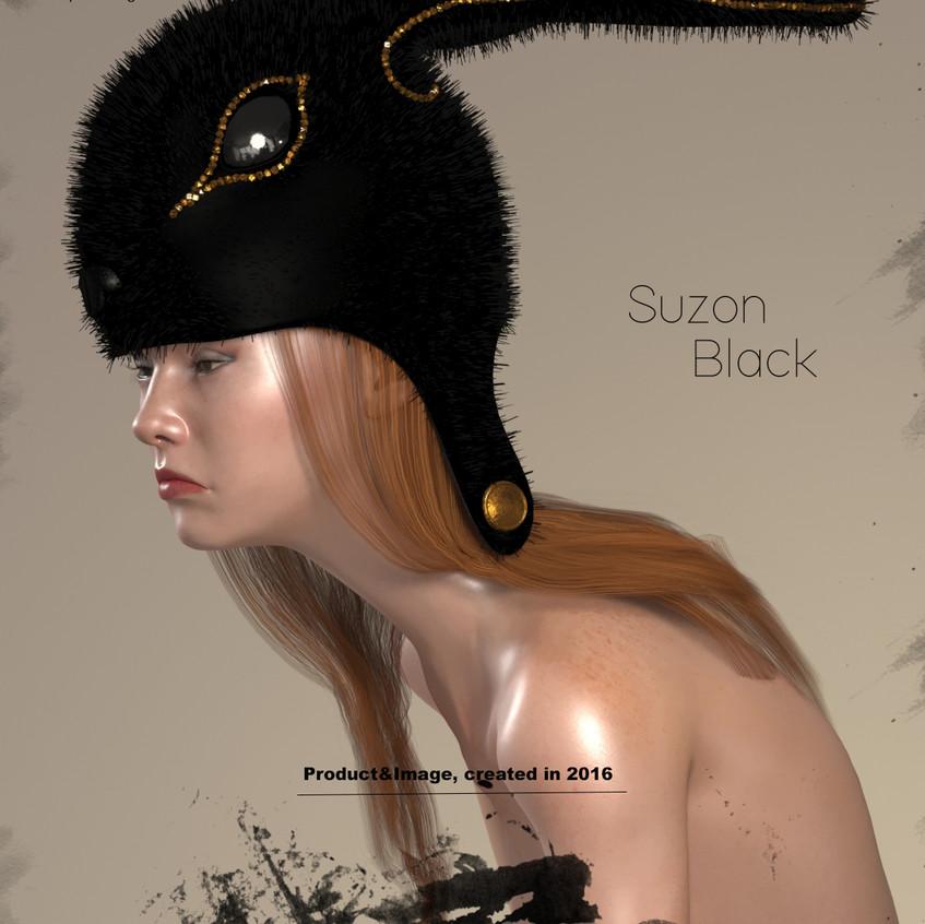 AZOURY - Suzon Fur Headwear [Black]