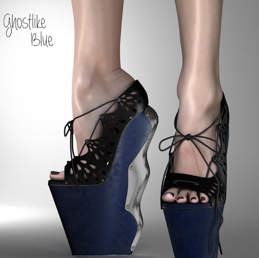 AZOURY Ghostlike High Heel Shoes [Blue]