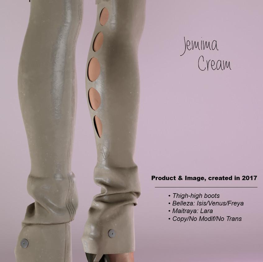 AZOURY - Jemima Thigh-high boots Cream