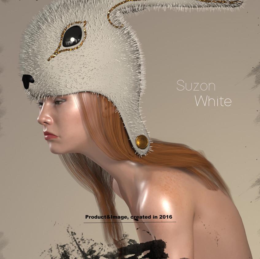 AZOURY - Suzon Fur Headwear [White]