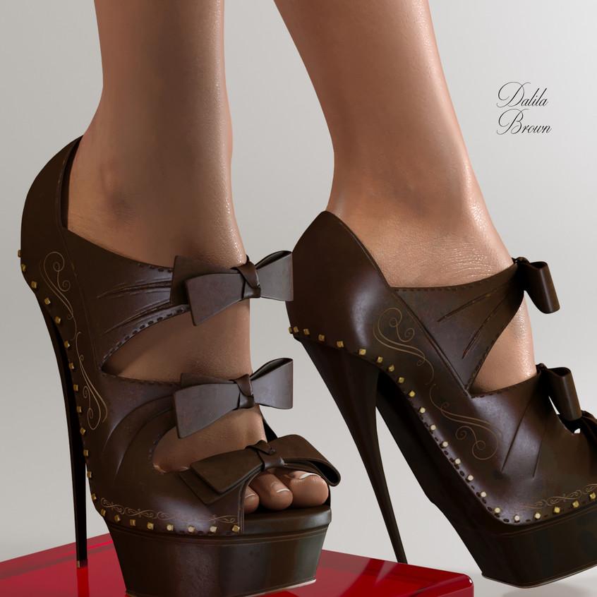 AZOURY - Dalila High Heel Shoe [Brown]