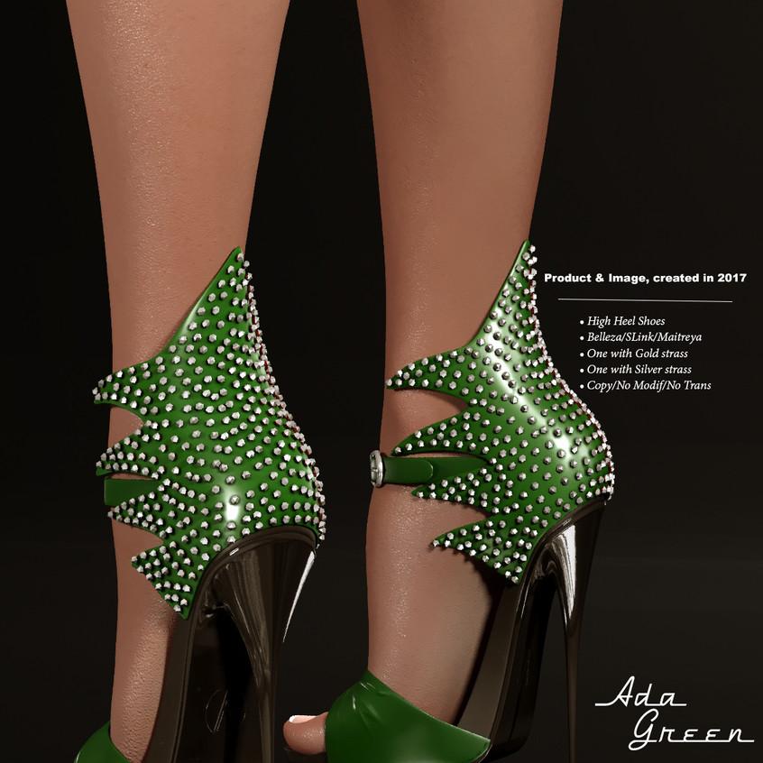 AZOURY - Ada High Heel Shoe [Green]