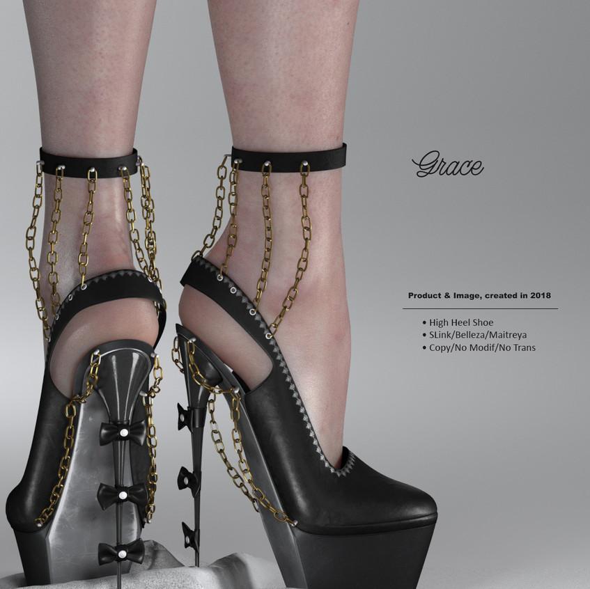 AZOURY - Grace High Heel Shoe {Onyx}