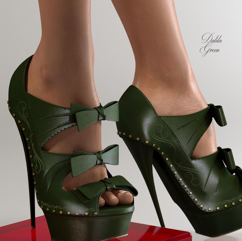 AZOURY - Dalila High Heel Shoe [Green]