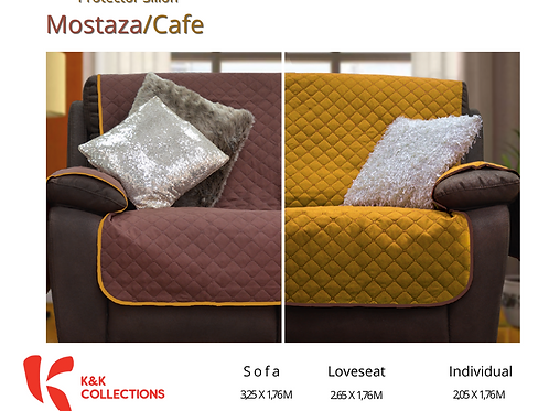 Protector de sillón Mostaza/Café