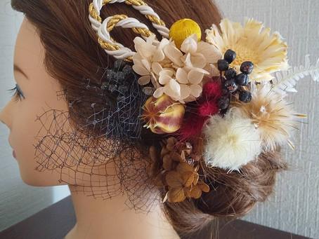 卒業式ドライフラワー髪飾りオーダー
