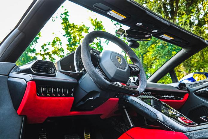 2020 Blue Lamborghini Huracan EVO Cockpi