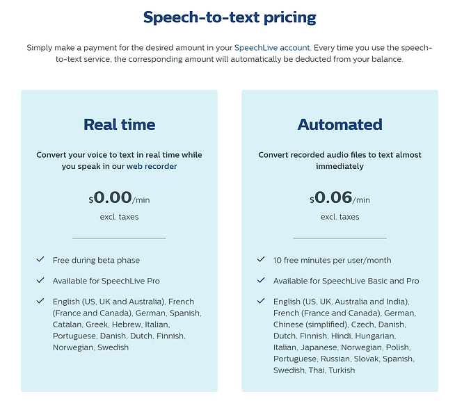 SpeechLive Speech to Text Pricing