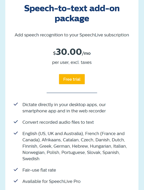 Philips SpeechLive Speech Recognition Pricing