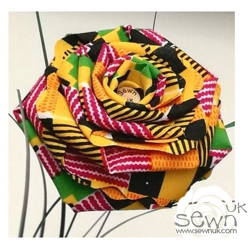Yellow Kente - Handmade African Fabric Roses