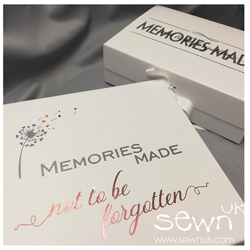 Memories Made, Not to be Forgotten -  White A4/Square Luxury Keepsake Box.