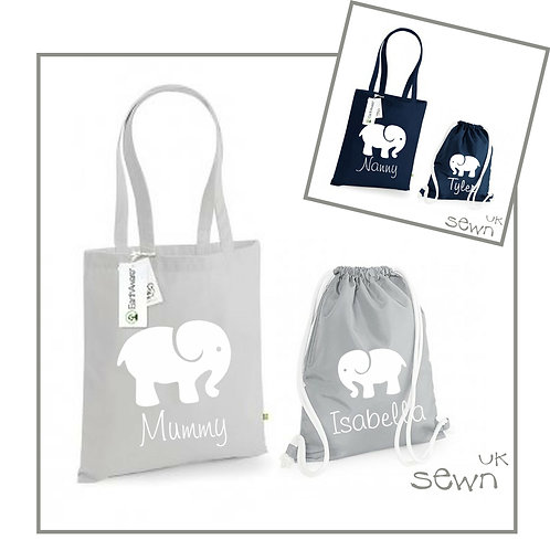 Elephant - Matching Bag Set, Personalised for Adult and Child