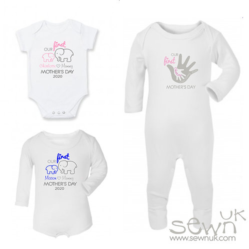 Personalised 'Our 1st Mother's Day' Short Sleeved/Long Sleeve/Sleepsuit