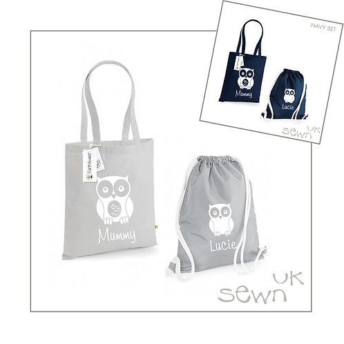 Owl - Matching Bag Set, Personalised for Adult and Child
