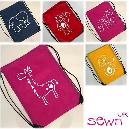 Kids Personalised 'Animal' Drawstring Bag
