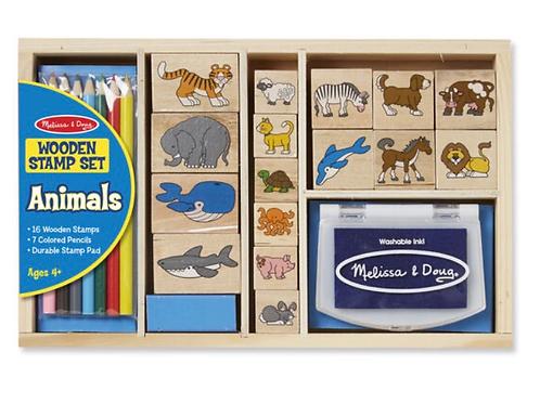 Wooden animal stamp set for kids melissa
