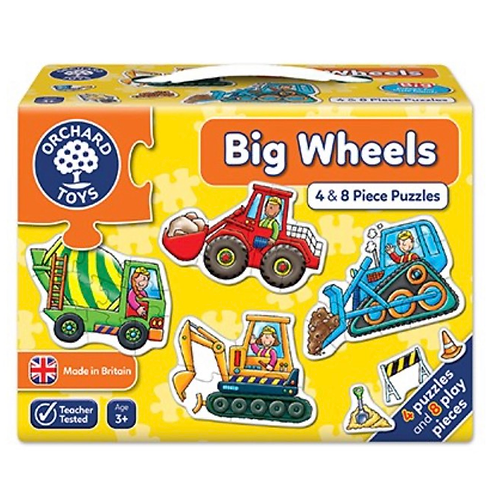 Vehicles big wheels yellow 4 and 8 piece jigsaws orchard