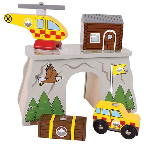 Bigjigs wooden rescue toy with helicopter