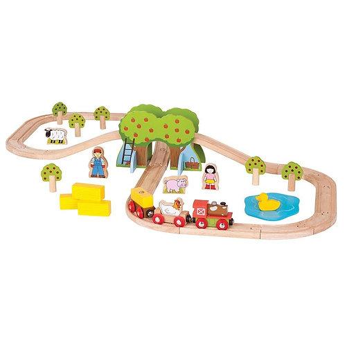Bigjigs wooden toy farm train set