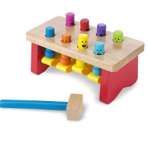Wooden pounding bench toy