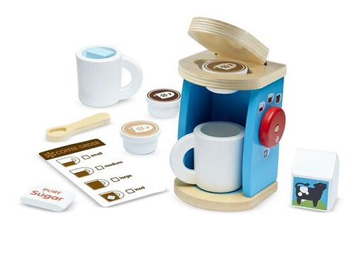 Pretend play wooden brew and serve coffee set