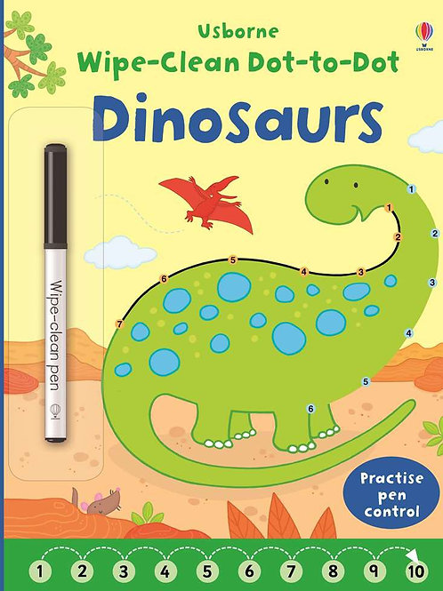 Dinosaurs wipe and clean dot to dot book