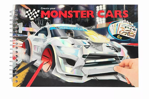 Monster car small pocket size colouring book