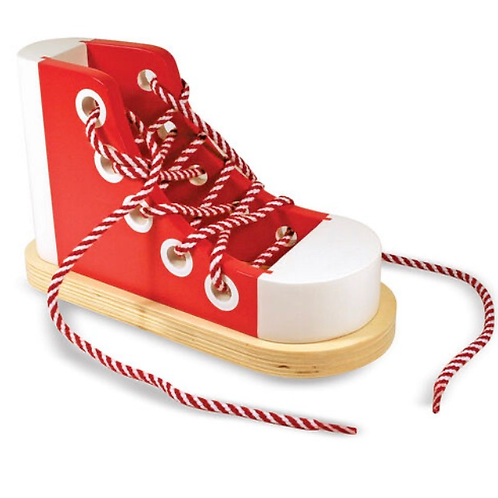 Wooden shoe lace toy