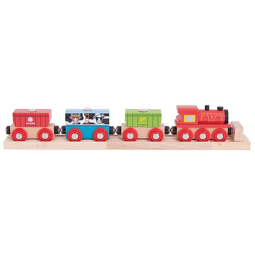 Bigjigs wooden toy train cereal